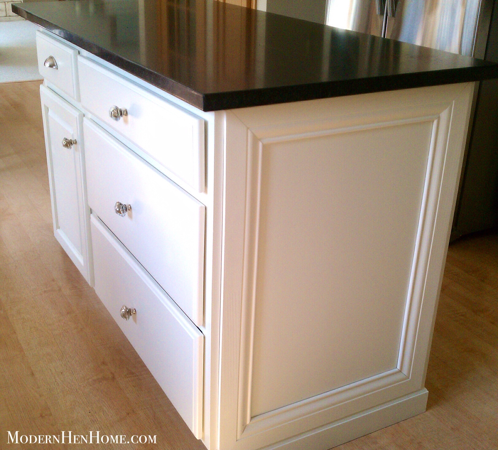 Kitchen Cabinets Moulding: Before & After: Painting A Kitchen Island On A Budget